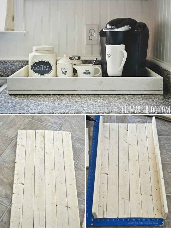 Build a vintagey breakfast tray out of plywood.