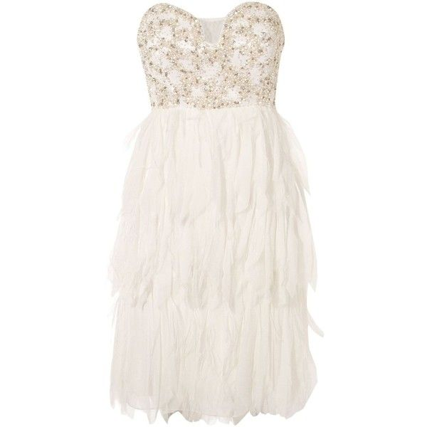 Anoushka G Cher feather short found on Polyvore: White Dress, Strapless Gown