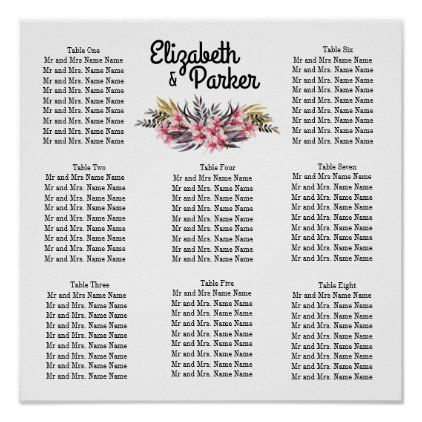 Pink Magnolia Template Wedding Seating Chart - floral style flower flowers stylish diy personalize