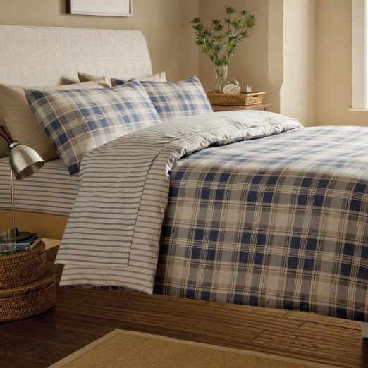Catherine Lansfield Tartan Print Brushed Cotton Flannelette Bedding Duvet Quilt Cover Set, Navy / White - Single Size: Amazon.co.uk: Kitchen...