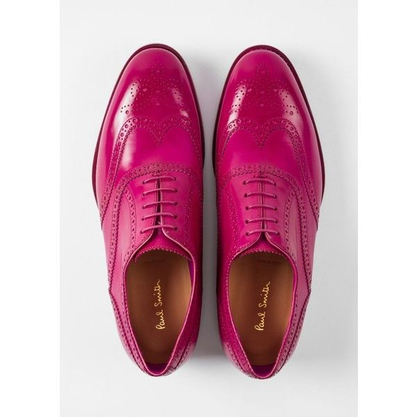 Paul Smith Men's Fuchsia Parma Calf Leather 'Cristo' Brogues ($495) ❤ liked on Polyvore featuring men's fashion, men's shoes, men's oxfords, paul smith mens shoes, calfskin mens shoes, mens brogue shoes and mens brogues
