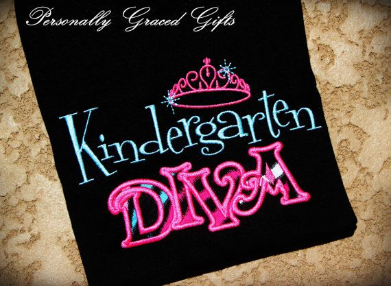 Pre-K Preschool KIndergarten Diva Embroidered School Shirt With Crown- Perfect for a Princess or Teacher-Updated 1st 2nd 3rd Grade via Etsy