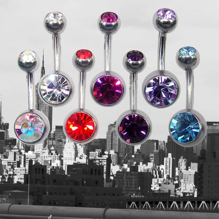 These are a few of our favorite things.... double crystal belly rings and NYC!