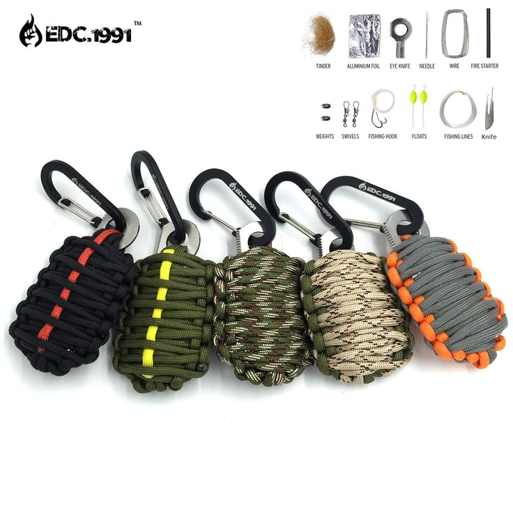 NEW EDC GEAR Carabiner Grenade 550 Paracord Outdoor camping Survival Kit Fishing Kit with Fire Starter and Sharp Eye Knife //Price: $12.78 & FREE Shipping //