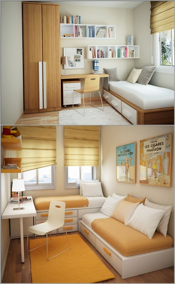 Home décor Interior Design The first room has a small space used intelligently for storage. Here the space is utilized in a heightened wardrobe, shelving and a bed that also has storage. The second picture shows a room that has two beds , a work table and shelves so beautifully placed.