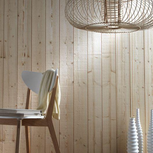 Revetement Mural Bois Brut : Lambris bois ?pic?a brut de sciage petits noeuds, L 205 x l 13.5cm