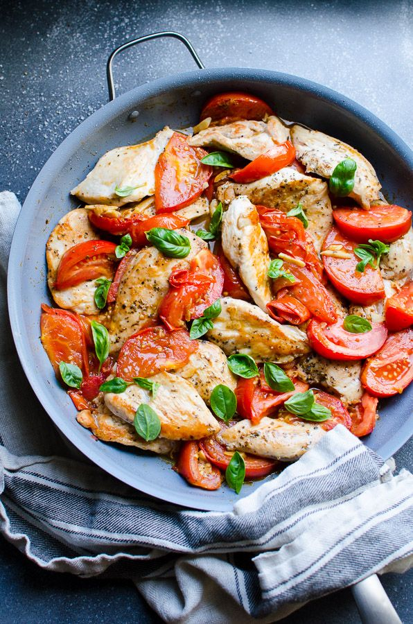 Chicken Breast with Tomatoes is 30 minute healthy dinner recipe with quickly seared chicken tenders, then sautéed with fresh tomatoes, garlic and oregano.   ifoodreal.com
