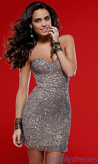 Love this! Even cuter in the Teal and Black! Sequin Embellished Short Scala Dress 14260 at SimplyDresses.com $180