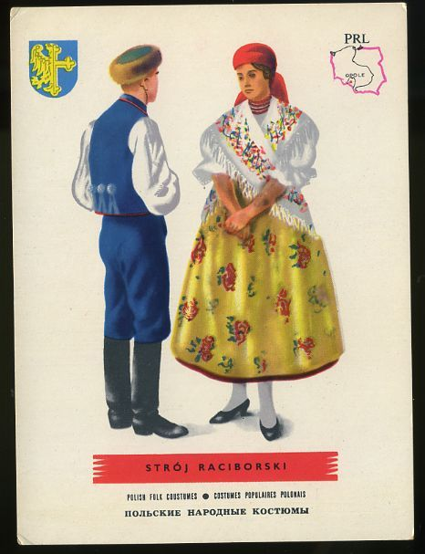 Man and woman wearing traditional clothes of Stroj Raciborski, Poland;Polish folk costumes