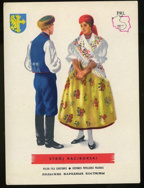 Man and woman wearing traditional clothes of Stroj Raciborski, Poland;Polish folk costumes