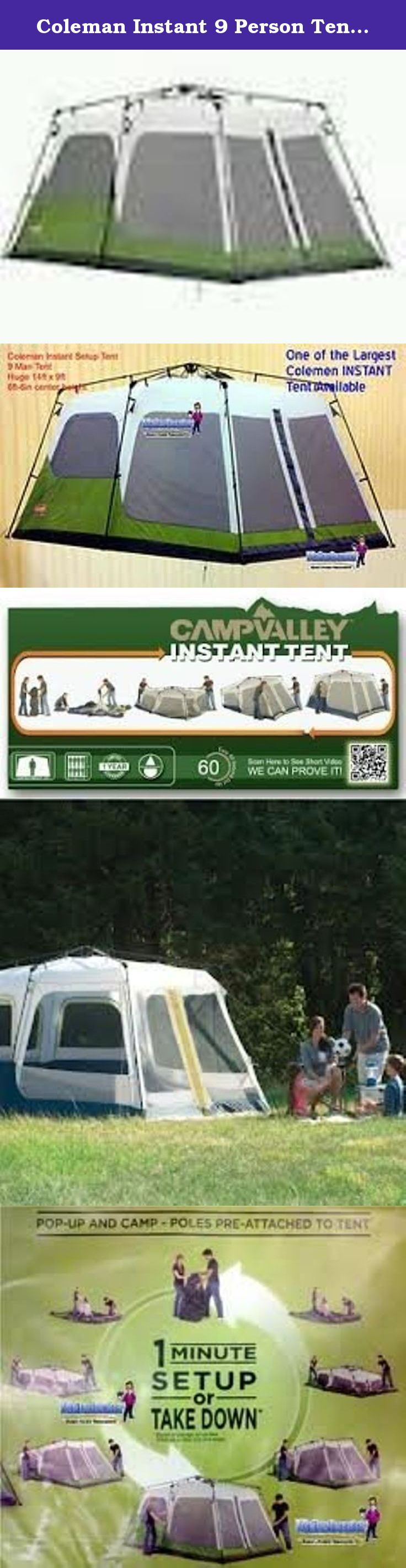 Coleman Instant 9 Person Tent (14ft X 9ft). Set up camp with the Coleman 9-person instant tent. It offers ample space to accommodate up to 9 people at a time. You can place 2 queen-size air beds in this tent and still have enough space to comfortably stand and walk around inside. This 2-room family tent has 6 mesh windows and a D-style door. Its fully-taped WeatherTec system prevents water seepage, even during harsh weather conditions. This outdoor camping tent comes with ground stakes…