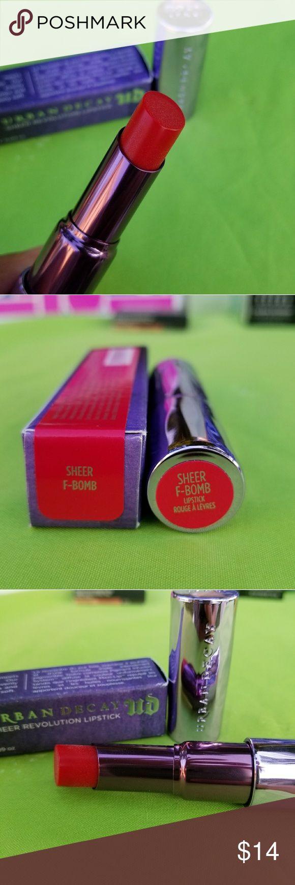 Urban decay revolution lipstick. Sheer f-bomb. New. Urban decay revolution lipstick color.  SHEER F-BOMB.  full size. Urban Decay Makeup Lipstick