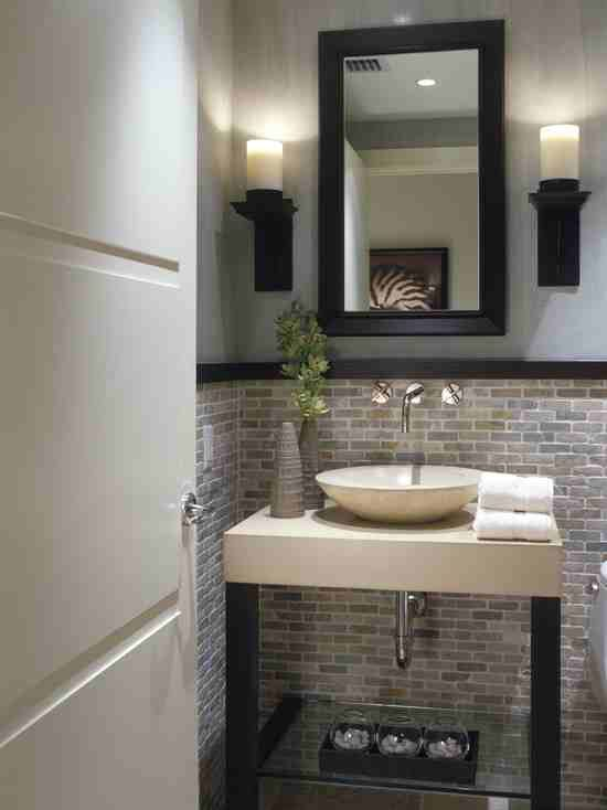 Half Bath Stone Tile On Wall Bathroom Ideas Pinterest