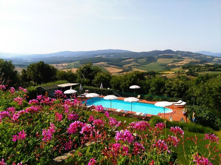Our swimming pool with amazing view on the hills of Tuscan countryside.. Come and join it !