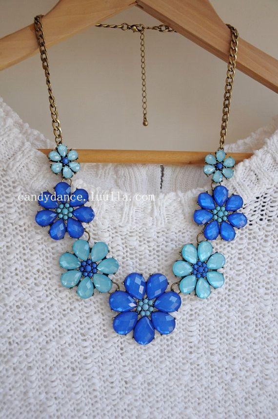 Blue Flowery Jewel Crystal Statement Necklace