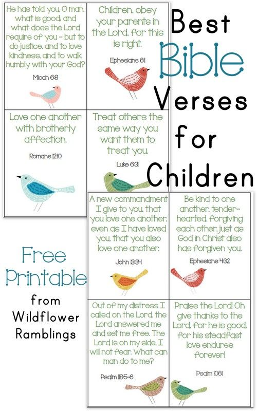 10 Best Bible Verses for Children {free printable!} - Wildflower Ramblings