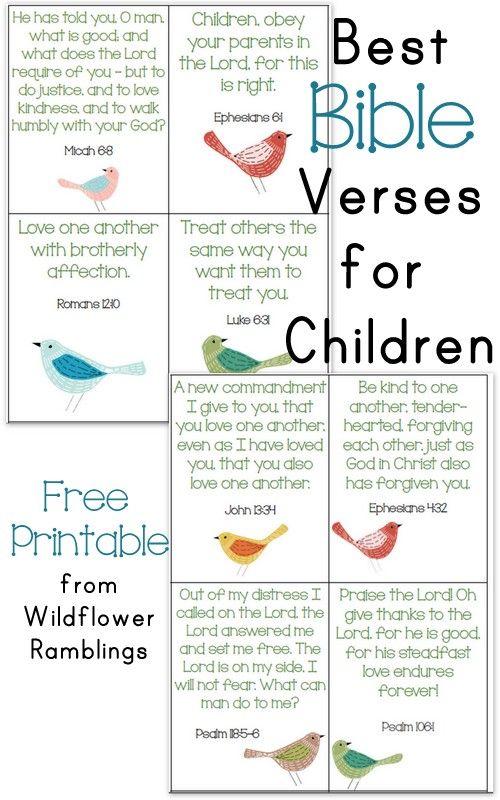 10 Best Bible Verses for Children {free printable!} - Wildflower Ramblings