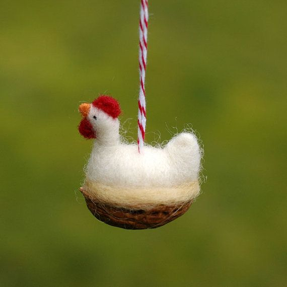 Chicken in a Walnut Needle Felted Ornament.    Looks like a friend for mouse in a nut.