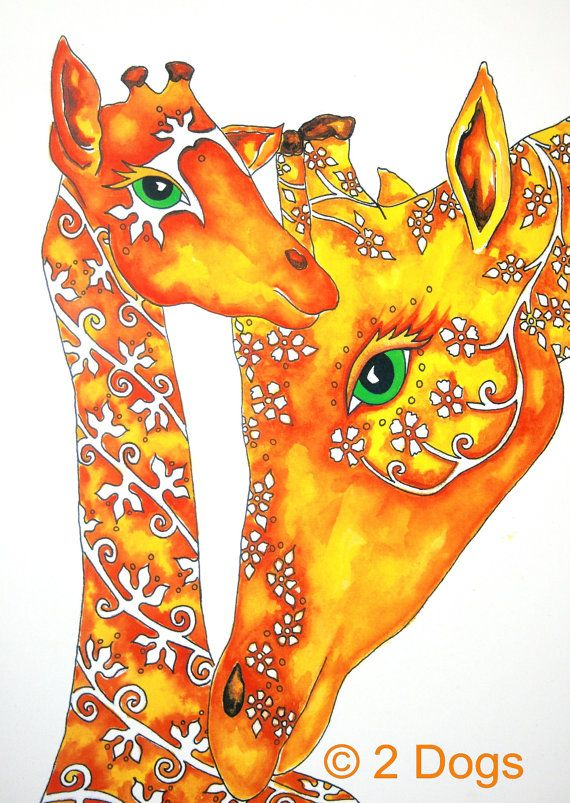 Giraffe art print, mom and Baby Giraffe Nursery or room decor wall hanging artwork 11x14. $12.50, via Etsy.