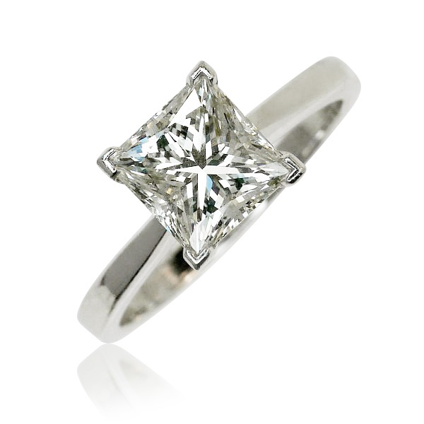 Diamond 2ct. white gold platinum  Solitär Ring 2ct Prinzess-Schliff, Weissgold, Platin EGL Expertise