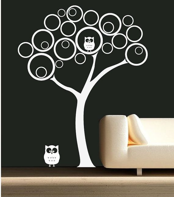 Baby Modern Nursery Wall Decal Includes: 1 Tree, 2 Owls This Decal Measures  59