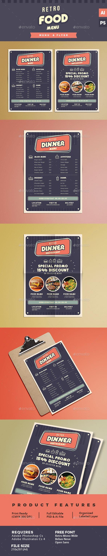 Retro Food  Menu & Flyer Template PSD, Vector AI. Download here: http://graphicriver.net/item/retro-food-menu-flyer/15778363?ref=ksioks