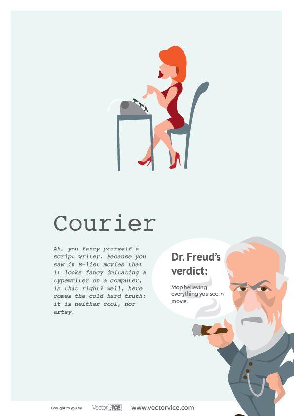 Courier Font Infographic Dr. Freud #Courier #Font #Infographic #inspiration #designer #design