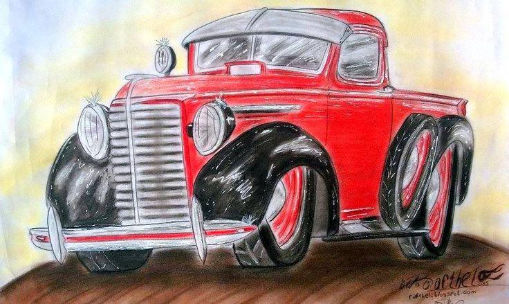Caricatura de pick up Chevrolet Antigua, propiedad de Guido Masera.  Fotografia de una lamina de 50cm x 70cm.  Cartoon Classic Chevrolet pickup, owned by Guido Masera. Photographs of a sheet of 50cm x 70cm. Conduct by Rafthel (Rafael Theller)  #Rafthel #Caricaturas #Cartoom #draw #Dibujo #Chevrolet #Kustom #cars #pickup #camioneta