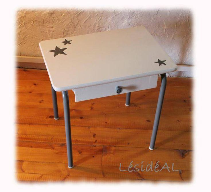 Bureau enfant vintage rétro relooké gris blanc - tables - LésidéAL - Fait Maison