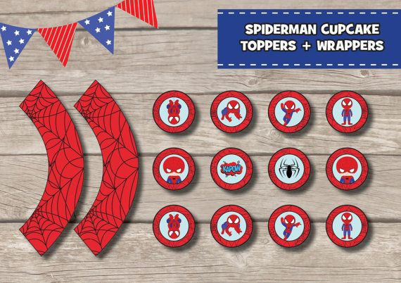SPIDERMAN Cupcake Toppers Wrappers Printable INSTANT Download DIY Cute Kids Birthday Superhero Party supplies Girls Boys Kawaii Tags Labels