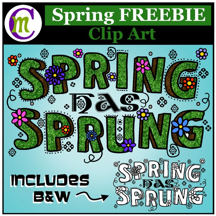word art clipart  quot spring has sprung quot  and links to more clip art used on teachers pay teachers clipart for teachers pay teachers