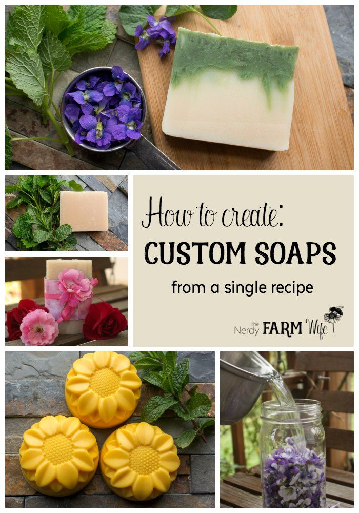 How to Create Custom Soaps from a Basic Soap Recipe - learn how to take one basic recipe and make sunflower soap, spring violet soap and healing skin bars.