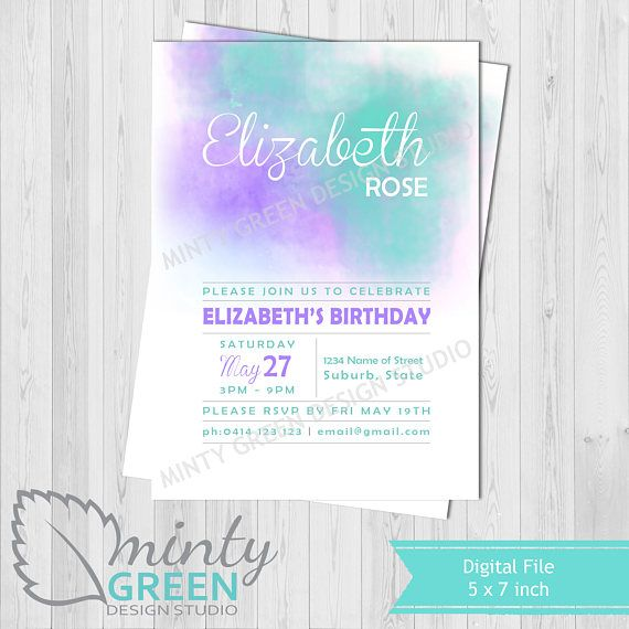 Purple & Teal Birthday Invitation  18th Birthday Invitation