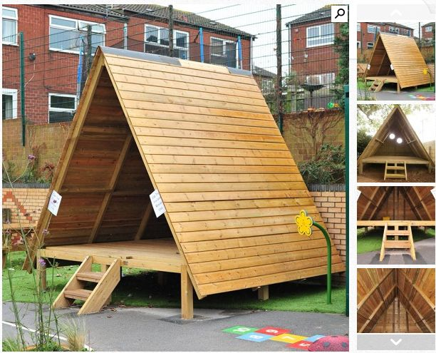 I love an A frame structure!  ...Rustic style playhouse/outdoor classroom offers children shade and shelter from the weather whilst allowing them to indulge in imaginative play and create their own scenarios and scenes. Low level so easily accessed by less able children, ideal for children aged three to eleven..