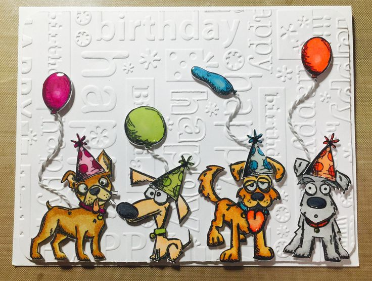 Crazy Dog Birthday Card. New Tim Holtz Crazy Dogs and Cats mini stamp set. Spectrum Noir alcohol markers, glossy accents, and happy birthday cuttlebug embossing folder.