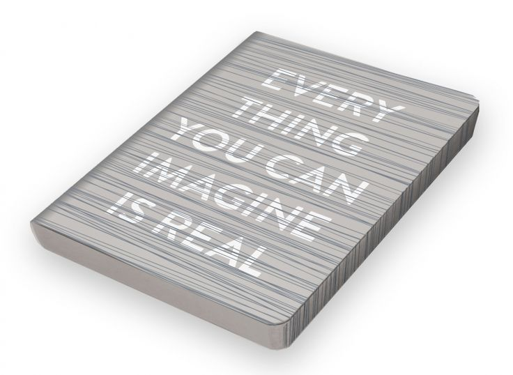 Notitieboek A5 - Everything You Can Imagine Is Real, jeans label, witte tekst