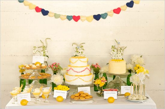 found via the wedding chicks, photo credit: Jessica Schilling Photography: Dessert Tables, Yellow Wedding, Shabby Chic, Wedding Ideas, Weddings, Wedding Cakes, Sweet Table