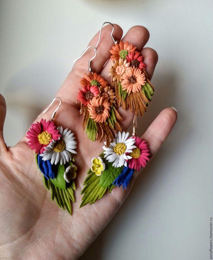 Купить Серьги из кожи с цветочками - разноцветный, кожаные цветы, кожаные…