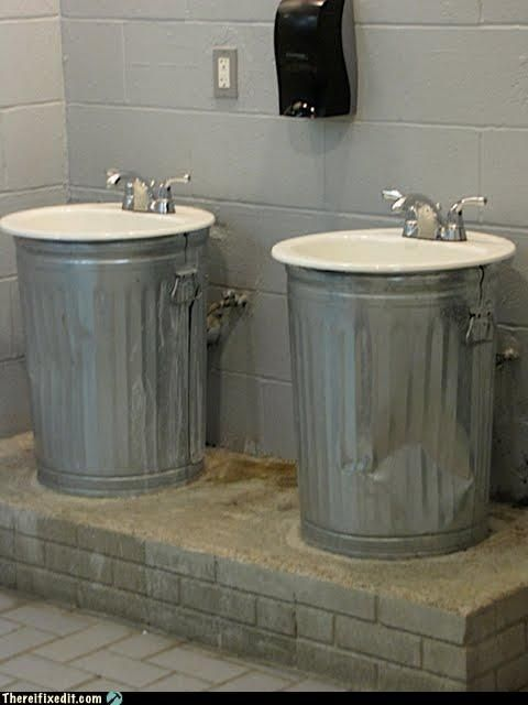 Neat bathroom idea the cans just hold up sinks and cover for Man cave bathroom sink