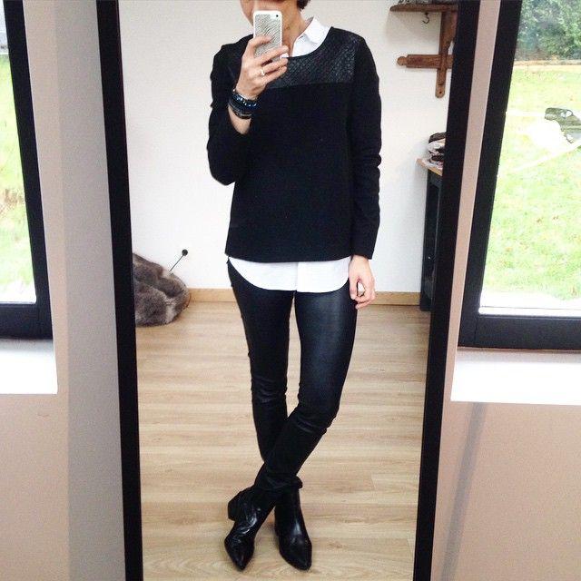 Première sortie de Louise sur chemise blanche ;) #ootd tunique #louise #unesourisdansmondressing chemise #mango leggings cuir #walinette #shineblossom boots #zara bracelet #hipanema