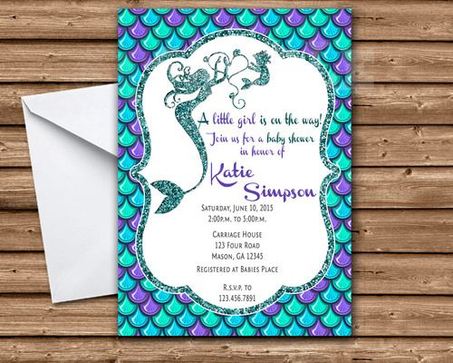 Get the elegant under the sea mermaid baby shower Invitations you've been looking for, for your fancy mermaid its a girl baby shower, featuring the mother-to-be's name, party information in vibrant ocean colors of blues and purples, accented with nautical colored glitter (Note: glitter is a printed design, not real glitter). Mommy mermaid with baby mermaid on the top. This mermaid themed baby shower invitation is professionally printed on 100lb gloss cover stock.   Each invitation is 4x6 or…