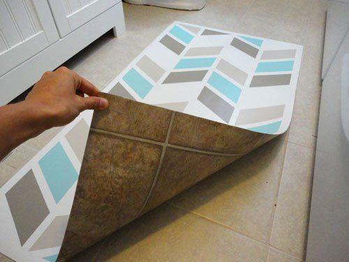 Herringbone Painted Vinyl Flooring Make Similar For