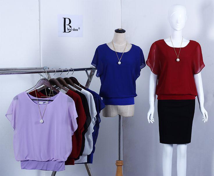 4XL 5XL плюс размер шифон Блузки лето новых женщин Топы Мода 2016 рубашки рябить Batwing коротким рукавом Черный Белый Красный Синий Повседневная одежда свободный