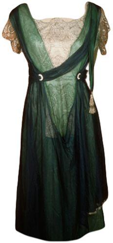 ~U.S. Dress (woman's) 1920 - 1930 Plain weave; Embroidered, machine; Net, machine Silk; Chiffon; Silk net; Metallic thread; Metal snaps~