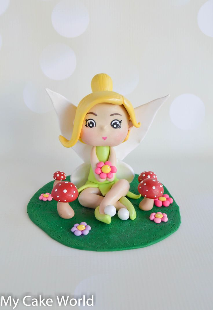 Tinker Bell cake topper, fairy cake topper, Tinkerbell cake, Tinkerbell topper, fairy theme birthday party, fairies, polymer clay fairy by InASweetDream on Etsy https://www.etsy.com/listing/270164143/tinker-bell-cake-topper-fairy-cake