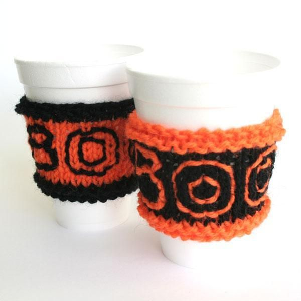 Halloween Cup Sleeve: Free Knitting, Free Pattern, Knitting Patterns, Cups, Halloween Knitting, Crochet Patterns, Knits