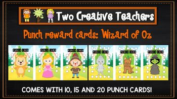 Student Reward Punch card: Wizard of Oz theme