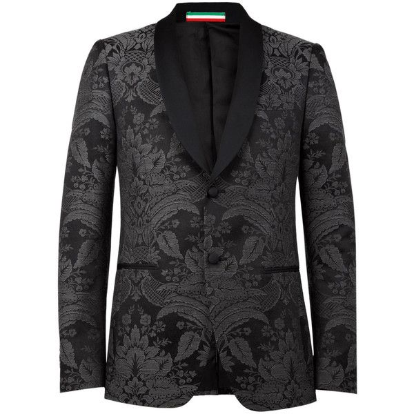 Moschino Grey Brocade Shawl Collar Tuxedo Blazer ($466) ❤ liked on Polyvore featuring outerwear, jackets, blazers, men, grey wool jacket, grey jacket, dinner jacket, grey blazer and wool jacket