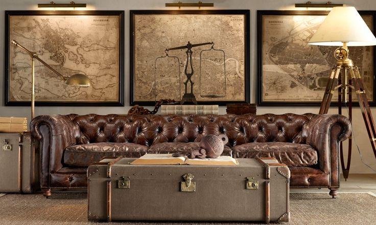 .: Coffee Tables, Living Rooms, Restoration Hardware, Leather Couch, Maps, Livingroom, Restorationhardware, Steamer Trunks, Man Caves