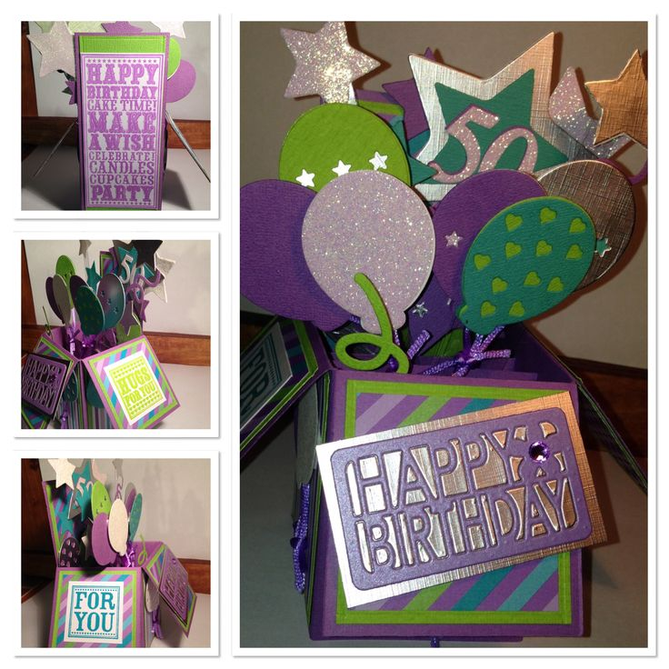 50th Birthday Card in a Box using Sizzix Balloons Triplets dies and Purple Onion sentiment stamps